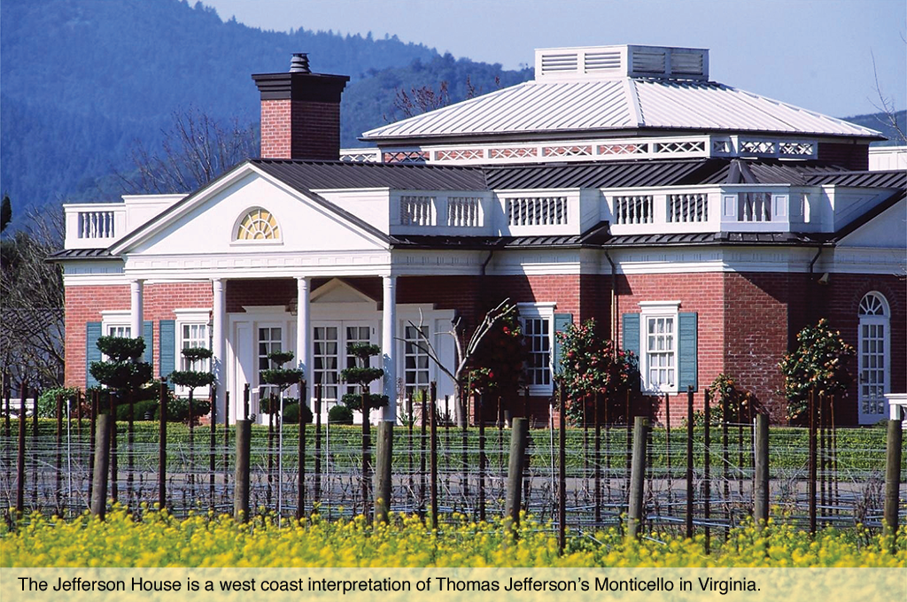 The Jefferson House is a west coast interpretation of Thomas Jefferson's Monticello in Virginia.